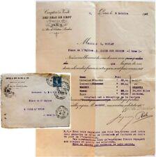 Enveloppe courrier 1921 Comptoir de vente Sels de l'Est Paris saline saunerie