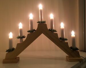 7 LIghtWooden Candle Bridge Christmas Lights Window/Mantlepiece Decoration/Mains