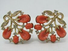 Mid-Century Crown Trifari Gold Tone Crystal Faux Coral Floral Clip-On Earrings
