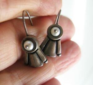 LISA JENKS Sterling Silver 925 Dangle Drop Earrings With Pearls