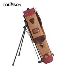 Tourbon New Golf Stand Bag Canvas & Leather Sunday Golf Clubs Shoulder Carry Bag
