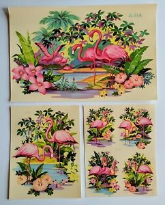 3 Different Sheets Vintage Pink Flamingo Water Decals Liberty Decal Co Unused