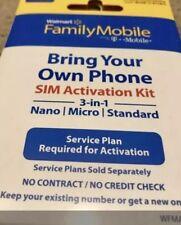 Walmart Family Mobile Starter Kit Gsm Nano Sim Card 3/1 T-Mobile Cell Phone