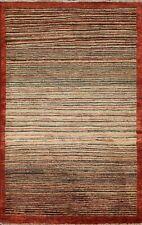 Striped Hand-knotted Gabbeh Kashkoli Area Rug Oriental Modern Foyer Carpet 3'x5'