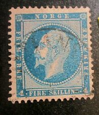 NORWAY 1856  King Oscar I  4sk. deep blue Used  SG 7 cat.£18.00