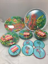 Isaac Mizrahi New York 22pc Tropical Floral Melamine Plates Platter Bowl Set NWT