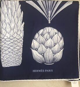 HERMES Silk Scarf 'Index Palmarum'' 90cm x 88cm in Navy Blue & White