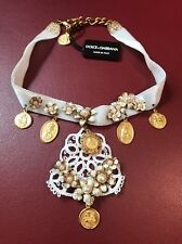 New $1150 DOLCE & GABBANA Gold Brass Floral Sicily CEREMONIA Coin Charm Necklace