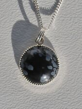 """Snowflake Obsidian Gem n/lace Sil Plate Pendant on 16 or 18"""" Sterling Sil Chain"""