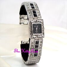 Silber Deko Vintage Markasit Statement Armbanduhr mit Jet Swarovski Strass