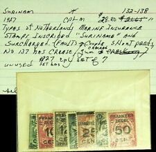 SURINAME 1927 SURCHARGED NETHERLANDS MARINE INSURANCE SET OF 7v MH STAMPS