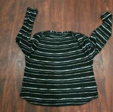 BLACK & SILVER SPARKLY LONG SLEEVE LINED SWEATER - SIZE XL