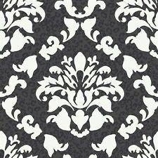 Big  Bold  Black & White Dramatic Damask with Leopard Print Wallpaper PW3935