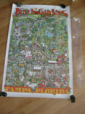 1973 Busch Garden Amusement Park Poster Original with Sleeve and Price Tag
