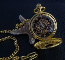 Mechanical Men Women analog Pocket fob Watch Classic Gold Skeleton body