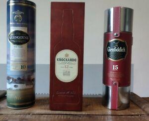 Lot De 3 Boîtes Whisky , 2 métal et 1 en bois, Knockando, Glenfiddich, Glengoyne