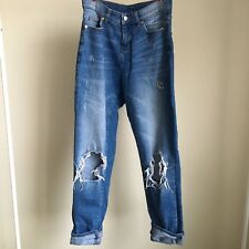 Cheap Monday Blue High Waisted Denim Jeans w/ Ripped Knees Size 27/32