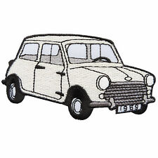 White Mini Cooper Austin Classic Cars Racing Embroidered Iron on Patches #MC020