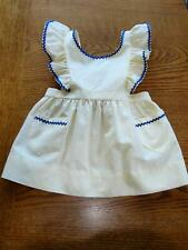 Vintage Childrens Clothing Girls Pinafore Dress Yellow w/Navy Blue Piping