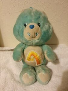Vintage Kenner Care Bears WISH BEAR Soft Plush Toy Blue/Turquoise 1983 Good Cond
