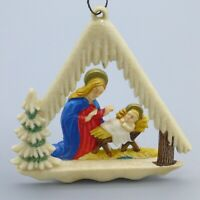 Vintage Hard Plastic Nativity Diorama Chalet Christmas Ornament Germany