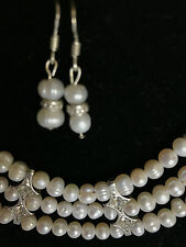 New cultured white pearl necklace with earrings 3 strand hand beaded