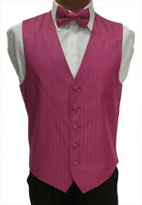 S Mens Fuchsia Watermelon After Six Radar Wedding Fullback Tuxedo Vest w/ Tie