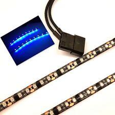 BLUE LED PC CASE LIGHT(TWIN 30CM BRIGHTER STRIPS) MOLEX 60CM SHEATHED TAILS