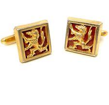 Vintage Gold Tone Cufflinks HICKOK USA Rampant Lion Crest