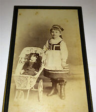 Antique German Victorian Fashion Girl, Doll & Stroller! Beautiful Toy CDV Photo!