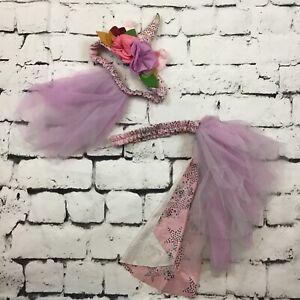 Matilda Jane Girls Sz M Unicorn Headband And Belt Tule Floral Mane & Tail