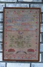 Antique Primitive School Sampler F McConnachie 1881 Folk Needle Point Art Crest