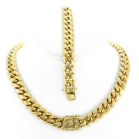 14mm Men's Miami Cuban Link Bracelet & Chain Set 18k Gold Plated Stainless Steel