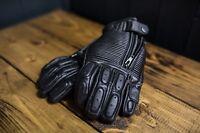 Kuna Customs Black retro leather motorcycle gloves, bobber cafe racer brat style