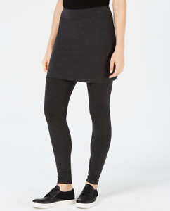 EILEEN FISHER CHARCOAL COZY JERSEY STRETCHY SKIRTED LEGGINGS PETITE Sz MP