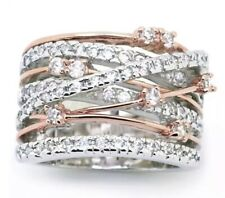 Intertwined Cubic Zirconia Rose Gold & Silver Plated Ring Size Q