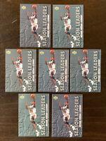 1993 UPPER DECK #166 MICHAEL JORDAN CARDS SEASON LEADERS LOT OF 7, LAST DANCE