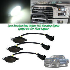 Bright White 12-SMD LED Running Lamps Smoked Front Grille Lights For Ford Raptor