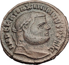 MAXIMIAN 300AD Big Follis Authentic Genuine Ancient Roman Coin Genius i63203