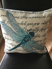 Mainstays Firefly and Scroll Accent Pillow, Indoor, Outdoor, Blue On Cream,16x16