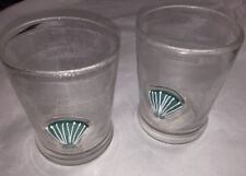 2 Sonoma Home+Style SEASIDE AQUA Double Old-Fashioned Glass Beach Seashell Shell