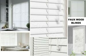 50mm slat White faux wood venetian window blinds, trimmable blind, Home, Office