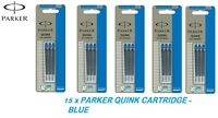 15 X PARKER quink ink Cartridges refills Genuine Fits parker fountain pens  BLUE