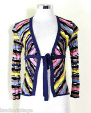 MISSONI Multicolor Knitted Black Yellow Sweater Jacket Cardigan Small 2 3 4 40