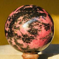 984g Pink & Black Rhodonite Quartz Crystal Sphere Healing Ball Mineral Specimen