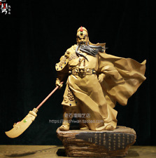 Shiwan Pottery Porcelain Warrior God Dragon Guan Gong Yu Gonggong Statue