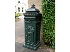Post Mail Letter Box Green Grand Pillar Cast Aluminium Freestanding Lockable Key