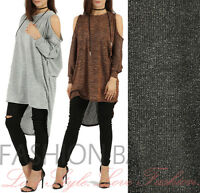 Womens Lurex Oversized Cold Shoulder Top Baggy Glitter Hi Lo Xmas Party Top Gift