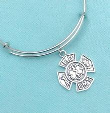 "Firefighters Handcrafted FD & EMT Combo Logo Charm Expendable 7""  to 8"" Bangle."