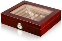Cherry 25 Cigar Humidor Storage Box Desktop Glasstop Humidifier w/ Hygrometer